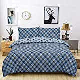 Todd Linens 3 Pcs Tartan Stag Reversible Duvet Cover Set with 2 Pillowcase - Bedroom Decor for...