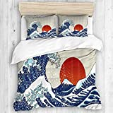 ALLMILL Ocean Wave Ancient Great Japan Wave and Red Sun Sunrise Scenery Japanese Style...