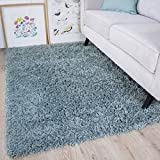 The Rug House Soft Non Shed Thick Plain Easy Clean Shaggy Rugs Ontario - 16 Colours and 8 (Duckegg...