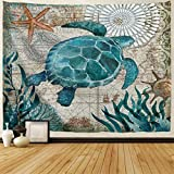 BJHAP Sea Turtle Tapestry Nautical Blue Map Tapestry Wall Hanging Decor Fabric Ocean Creature...