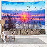 Life is Better at The Lake Tapestry Wall Hanging Wall Art Decor, Nautical Sunset Lake Landscape Dock...