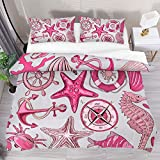 Eslifey Printed Bed Duvet Cover Set Double Nautical Sea Wheel Anchor Starfish Pattern Pink 3 Pcs...