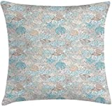BONRI Nautical Throw Pillow Cushion Cover, Pastel Toned Sea Shell Starfish Mollusk Seahorse Coral...