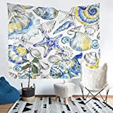 Ocean Tapestries Wall Hanging Starfish Shell Conch Tapestry for Kids Boys Girls Sea Wave Nautical...