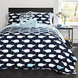 Lush Decor Kids Reversible 4 Piece Quilt Bedding Set with Sham and Decorative Throw Pillows, Navy,...