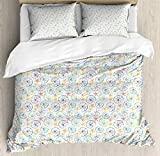 LnimioAOX Nautical Duvet Cover Set, Funny Marine Pattern with Artistic Grunge Style Colorful...