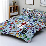 Duvet Cover Set,Pirate Themed Game Start and Finish Colorful Spots Sea Animals Nautical Symbols...