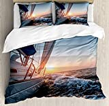 Nautical Duvet Cover Set King Size, Sail Boat in The Sea Waves Toward Sunset Marine Adventure Hobby...