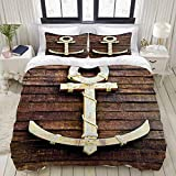 TARTINY Duvet Cover Set, Old Wooden Nautical Anchor on The Deck Harbor Yacht Craft Navigation Drogue...