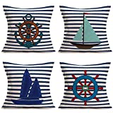 Hopyeer Rustic Nautical Pillow Covers Navy Blue Ocean Stripe Sea Sailing Boat Rudder Anchor Sailboat...