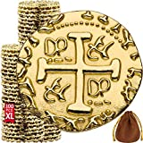 Metal Pirate Coins - 100 Large Gold Treasure Coin Set, Metal Replica Spanish Doubloons for Board...