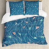 ABAKUHAUS Nautical Duvet Cover Set, Waves and Ships Cartoon, Bedding Set 3 Pieces with 2 Pillow...