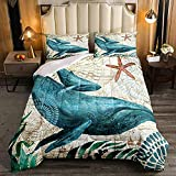 HUA JIE Comforter Sets For Queen Size Bed,Ocean Comforter Set Teal Whale Bedding Teal Marine...