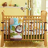 USTIDE 7-Piece Nursery Cot Bedding Set Cute Lion Safari Baby Boy Crib Bedding with Bumper, Fitted...