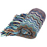 Bohemian Style Sofa Throws Warm Thick Armchair Cover Soft Blanket, 130 cm x 160 cm (Blue)