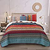 WONGS BEDDING Bohemian Bedspread King Boho Striped Pattern Printed Quilted Bedspread Coverlet for...