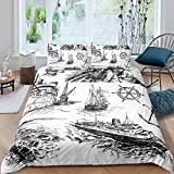 Zooseso® 3-Piece Bedding Black and white sketch nautical sailboat scenery Duvet Cover Set Brushed...
