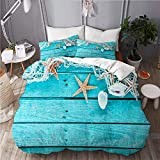 ALLMILL Delicate nautical border with fishing net,College Dorm Room Decorative 3-Piece Bedding...