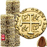 Metal Pirate Coins – 100 Gold Treasure Coin Set, Metal Replica Spanish Doubloons for Board Games,...