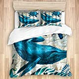 Duvet Cover,Nautical Sea Turtle and Whale Sea Animals Theme,Quality Microfiber Bedding Set Ultra...