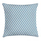 ABAKUHAUS Ikat Throw Pillow Cushion Cover, Nautical Inspired Abstract Geometrical Shapes Rhombus...