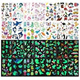 XINDY Temporary Tattoos for Kids, 150+pcs Mixed Style Glow In The Dark Tattoos, Luminous Unicorn...