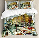 Marine 3 PCS Duvet Cover Set, Naples Small Boats at Historical Italian Coast with Heritage Castle...