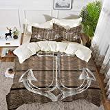 3 Piece Bedding Set,Anchor Nautical Hand Drawing Boating Sketch Taupe Rustic Wooden Planks Coastal...