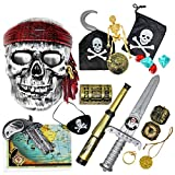 THE TWIDDLERS - 15 Pc Pirate Fancy Dress Costume and Accessories Play Set