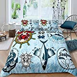 HUA JIE Queen Bed Sheets And Comforter Set,Nautical Bedding Set Ocean Crab Comforter Cover Fish...