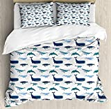Whale 3 PCS Duvet Cover Set, Different Types of Swimming Marine Characters in Hand Drawn Style...