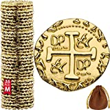 Metal Pirate Coins - 35 Gold Treasure Coin Set, Metal Replica Spanish Doubloons for Board Games,...