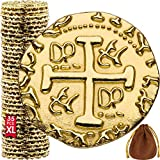 Metal Pirate Coins - 35 Large Gold Treasure Coin Set, Metal Replica Spanish Doubloons for Board...