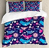 ABAKUHAUS Whales Duvet Cover Set, Nautical Pattern with Floral Ornamental Pink and Blue Toned...