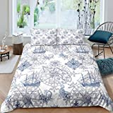 Homewish Nautical Bedding Set, Anchor Compass Duvet Cover for Kids Boys Teens, Retro Sailboat...