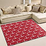 Use7 White Nautical Anchor Red Area Rug Rugs for Living Room Bedroom 160cm x 122cm(5.3 x 4 feet)