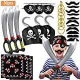 specool Pirate Accessories with Pirate Eye Patch Pirate Sword Pirate Hook Earrings Set Fake...
