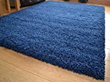 Soft Touch Shaggy Navy Blue Thick Luxurious Soft 5 cm Dense Pile Rug. Available in 9 sizes (80 cm x...