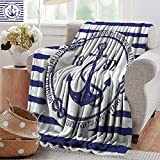 PearlRolan Sand Free Beach Blanket,Anchor,Old Authentic Nautical Emblem with Anchor on a Striped...