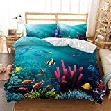 Loussiesd Animal Bedding Single Underwater World Duvet Cover Colorful Fishes Bedding Set Digital...