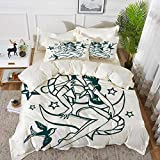 Luoquan 3 Piece Bedding Set,Anchor,Pin-up Girl Nautical Sailor Suit Surrounded by Swallow Birds...
