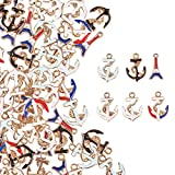 PH PandaHall 60pcs 6 Color Anchor Charms Pendant Boat Anchor Tower Enamel Dangle Charms Beads for...