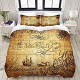 Duvet Cover,Map Nautical Chart Ship Whale Yellow,Bedding Set Ultra Comfy Lightweight Luxury...