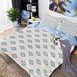 Bedding Sheets Set 3 Piece Duvet Cover Set Bed Set,Nautical Inspired Color Ornamental Abstract...