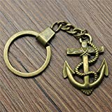 XHYKL 40x38mm Anchor Keychain 2 Colors Antique Bronze Antique Silver Fashion Handmade Keychain Party...