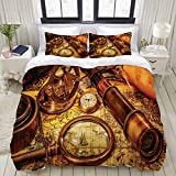 ELIENONO Duvet Cover Set,Antique Magnifying Glass Compass Telescope and Pocket Watch on an Old Map...