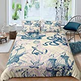 Loussiesd Vintage Nautical Bedding Set for Kids Boys Adults Old Sailboat Anchor Compass Comforter...