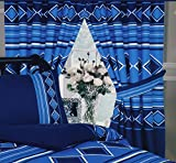 Men Only Nautical Blue, 66x72 Curtains + Matching Tie-Backs, Diamond Squares Lines Stripes, Navy Mid...
