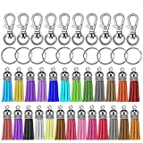 Selizo 150Pcs Swivel Hooks with Key Rings and Tassels Bulk for Keychain Crafts
