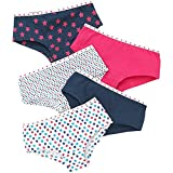 Just Essentials Girls Back to School 5 Pack Cotton Star Print Hipster Briefs UK Seller - Navy-Pink -...